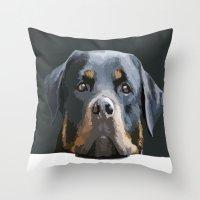 rottweiler Throw Pillows featuring Rottweiler Portrait Vector by taiche