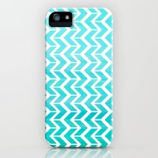 Maritime Aqua Teal Chevron Herringbone ZigZag - Mix & Match Slim Case iPhone (5, 5s)