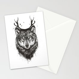 Deer wolf (b&w) Stationery Cards