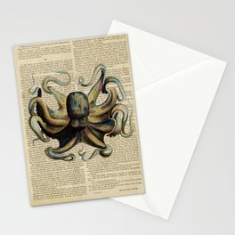 Book Art Octopus Color Stationery Cards