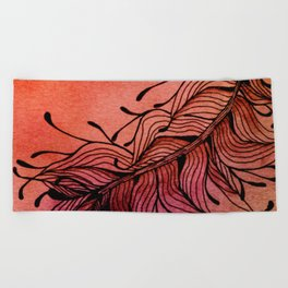 Doodled Autumn Feather 01 Beach Towel
