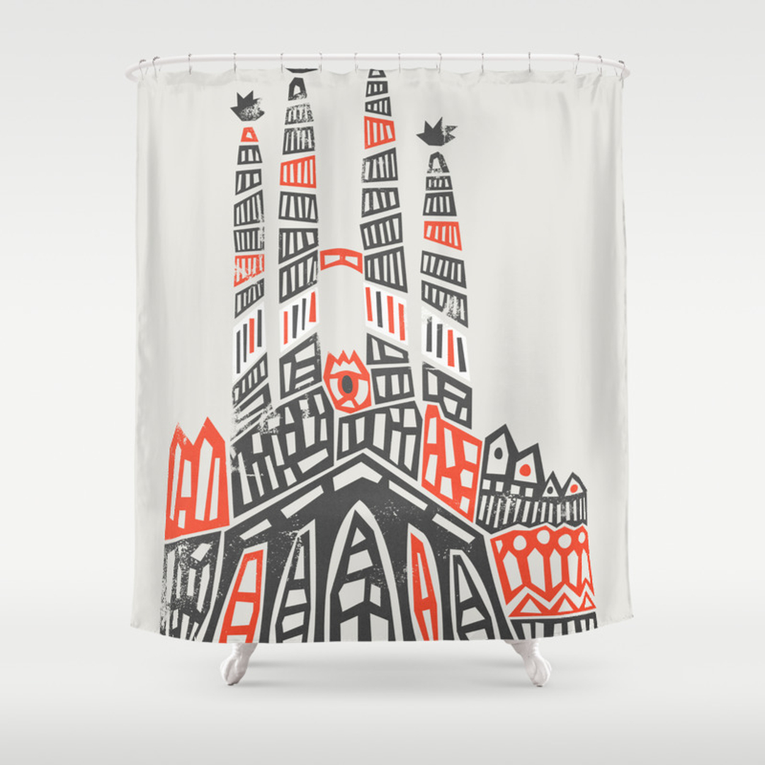 Gaudi Shower Curtains Society - Gray and orange shower curtain