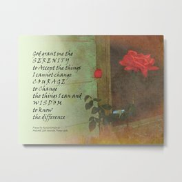 Serenity Prayer Rose and Door Metal Print