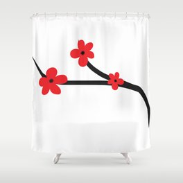 Beautiful Red and Black Japanese Cherry Blossom Flower Art Shower Curtain