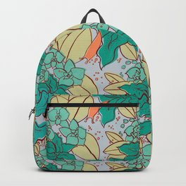 Green Lilies and Orchids Backpack