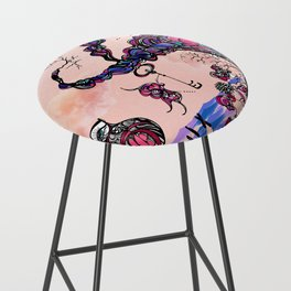 The Key is Within Black Inked Color Illustration Bar Stool