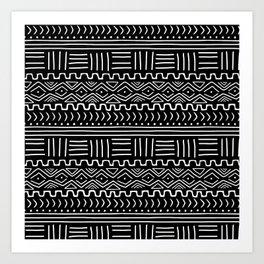 Mud Cloth on Black Art Print