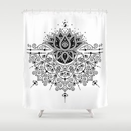 Lotus Blossom Mandala – Black Palette Shower Curtain