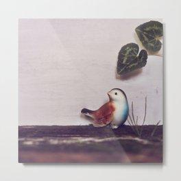 Rustic bird and wood Metal Print