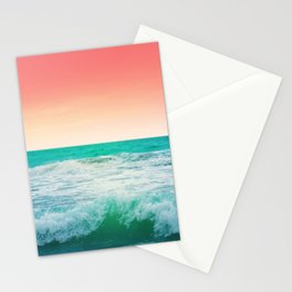 Aqua and Coral, 3 Stationery Cards