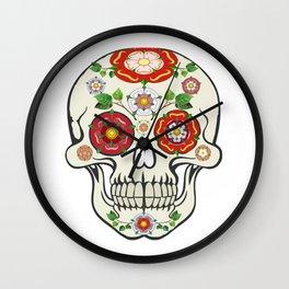 Lancashire Rose Sugar Skull Wall Clock