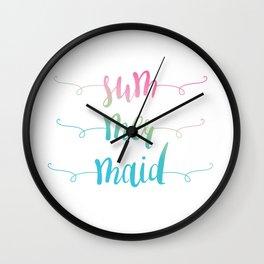Rainbow Summer Mermaid Wall Clock