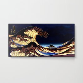 The GREAT Wave Midnight Blue Brown Metal Print