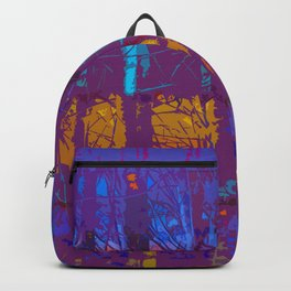 Tropical Abstract Trees in Purple and Gold Backpack