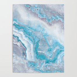 Ocean Foam Mermaid Marble Poster