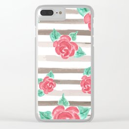 Stripes and Roses // Watercolor Clear iPhone Case