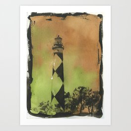 Cape Lookout lighthouse on the Outer Banks, North Carolina.  Watercolor painting of Cape Lookout lighthouse beach artwork home decor lighthouse NC lighthouse painting watercolor Art Print