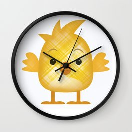 Emoji Chick in plaid Wall Clock