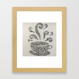 But first, Tea - tea coffee lover zentangle Framed Art Print