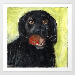 Dog with Red Ball Art Print