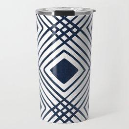 Criss Cross Diamond Pattern in Navy Blue Travel Mug