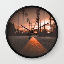 Road at Sunset Wall Clock