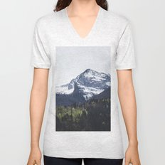 Winter and Spring - green trees and snowy mountains Unisex V-Neck