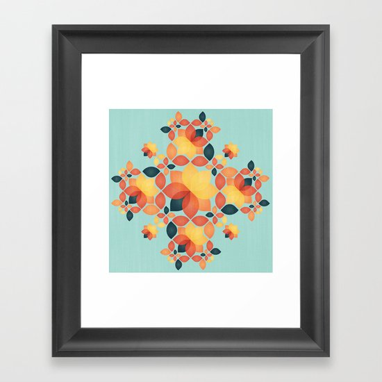 Orange Garden Pattern Framed Art Print
