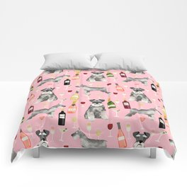 Schnauzer wine champagne cocktails rose dog breed pattern Comforters