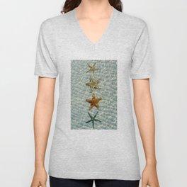 Beautiful starfishes under water Unisex V-Neck