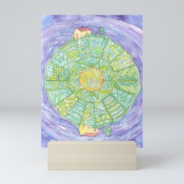 Drawing of Abstract round world with houses Mini Art Print