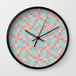 Neon teal pixel play mosaic Wall Clock