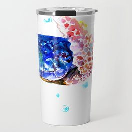 Sea Turtle, blue rainbow Travel Mug