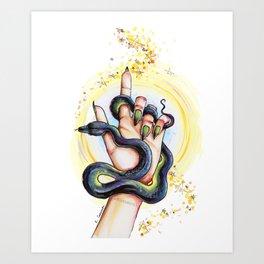 Snake in my hand Art Print