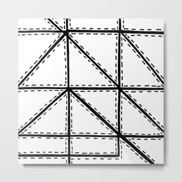 Marker Patchwork – Triangles and Rectangles – Black and White Metal Print