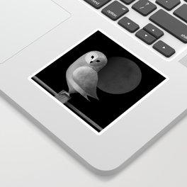 Barn Owl Full Moon Sticker