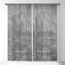 Valley View B & W 6656 - Yosemite National Park, CA Sheer Curtain