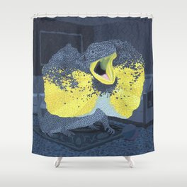 Black and Yellow Frilled Lizard in a Grey Room Shower Curtain