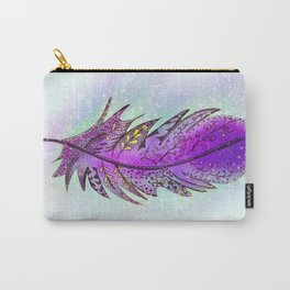Purple Sparkle Feather Carry-All Pouch