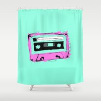 tape Shower Curtains featuring Mix Tape by AWOwens
