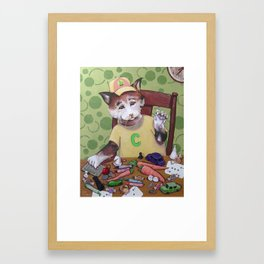 Capped Cat Counting Collectables Framed Art Print