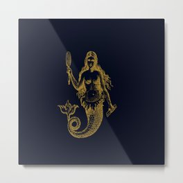 The gold mermaid- Navy blue maritime print with gold ornament Metal Print