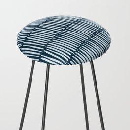 Inspired by Nature | Organic Line Texture Dark Blue Elegant Minimal Simple Counter Stool