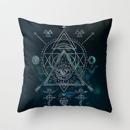 Mystical Sacred Geometry Ornament Throw Pillow