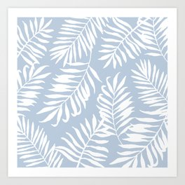 Tropical Palm Leaves - Light Blue Art Print