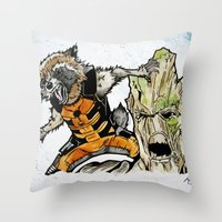 rocket raccoon Throw Pillows featuring Rocket Raccoon and Groot by artbyteesa