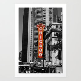 Black and White with Red Chicago Theatre sign Photography Art Print