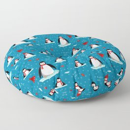 it's cold outside penguins seamless pattern blue Floor Pillow