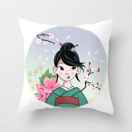 Japanese Girl Throw Pillow