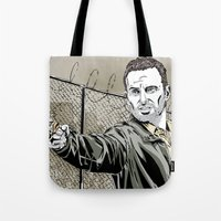 rick grimes Tote Bags featuring Walking Dead - Rick Grimes  by Averagejoeart